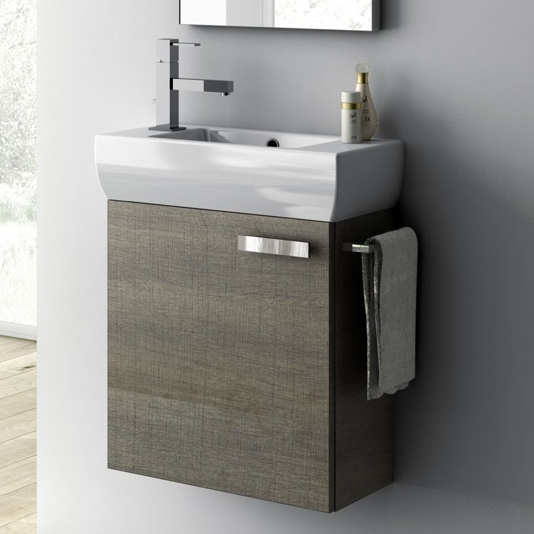 Bathroom Vanity, ACF C13, 18 Inch Vanity Cabinet With Fitted Sink C13 For  Downstairs
