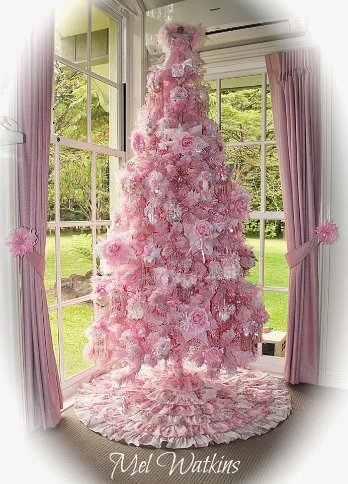 Pink Christmas in July | Shabby chic christmas tree, Pink christmas tree