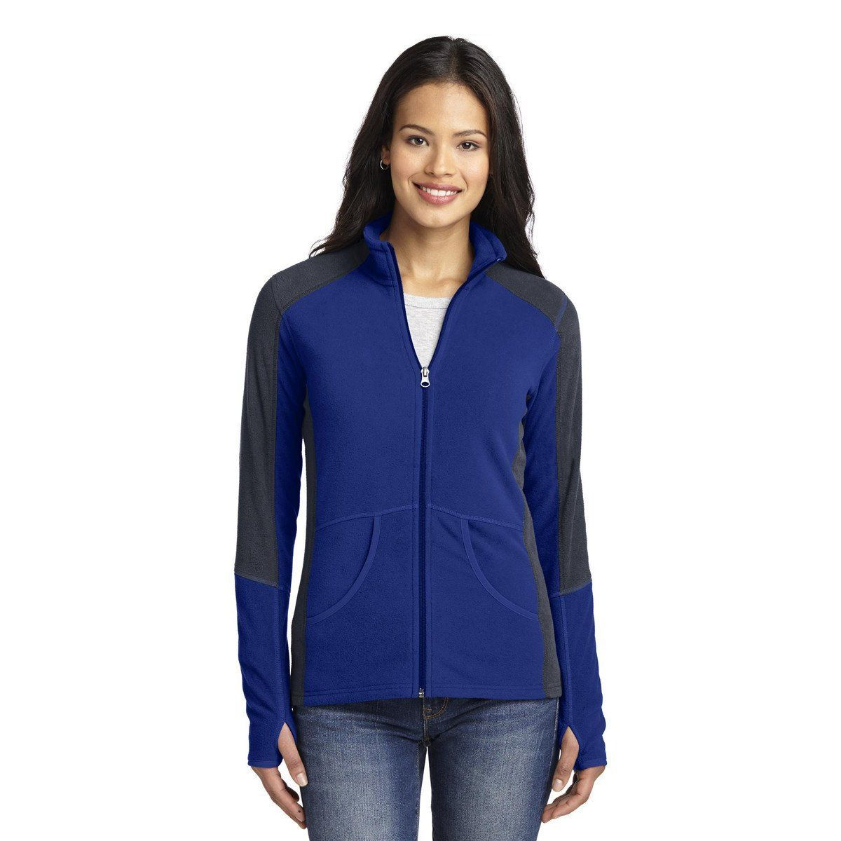 b28c8cffa05 Port Authority Women s Patriot Blue Battleship Grey Colorblock Microfleece  Jacket