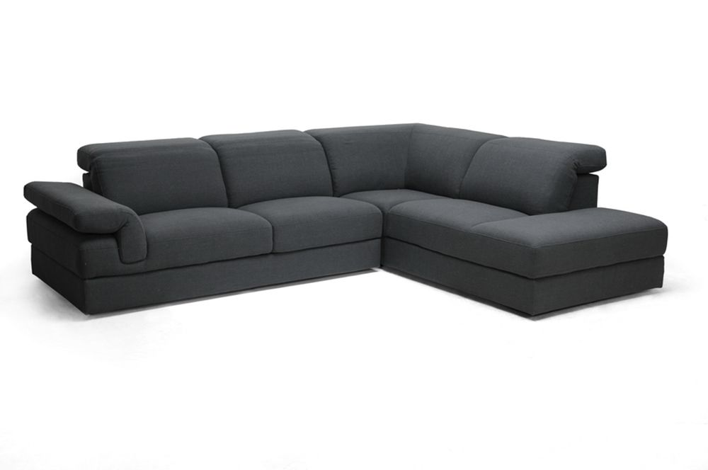 Baxton Studio Liesel Dark Gray Modern Sectional Sofa Affordable