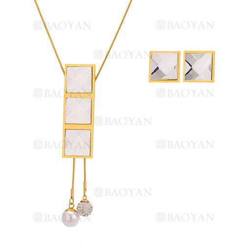 juego collar y aretes de brillante cristal en acero dorado inoxidable -SSNEG543336