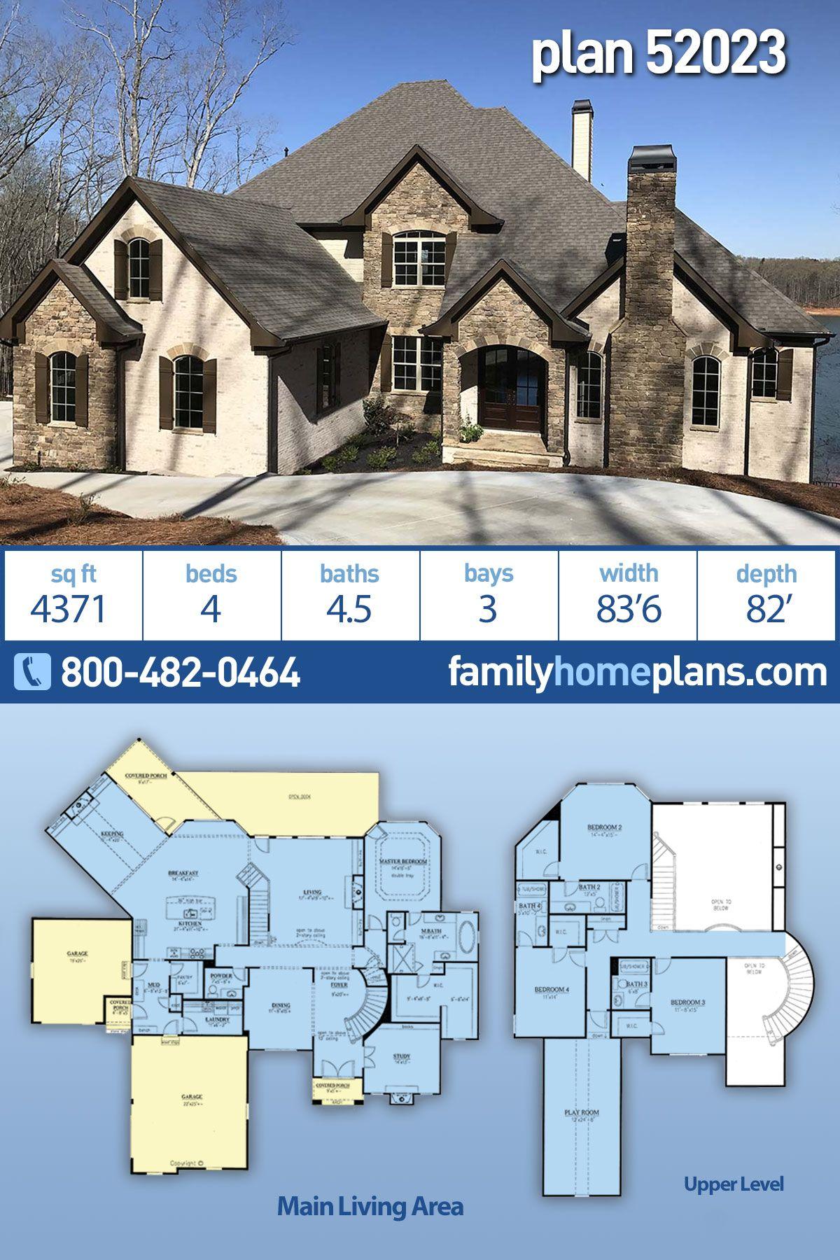 European Style House Plan 52023 With 4 Bed 5 Bath 3 Car Garage House Plans Sims House Plans House Plans Farmhouse
