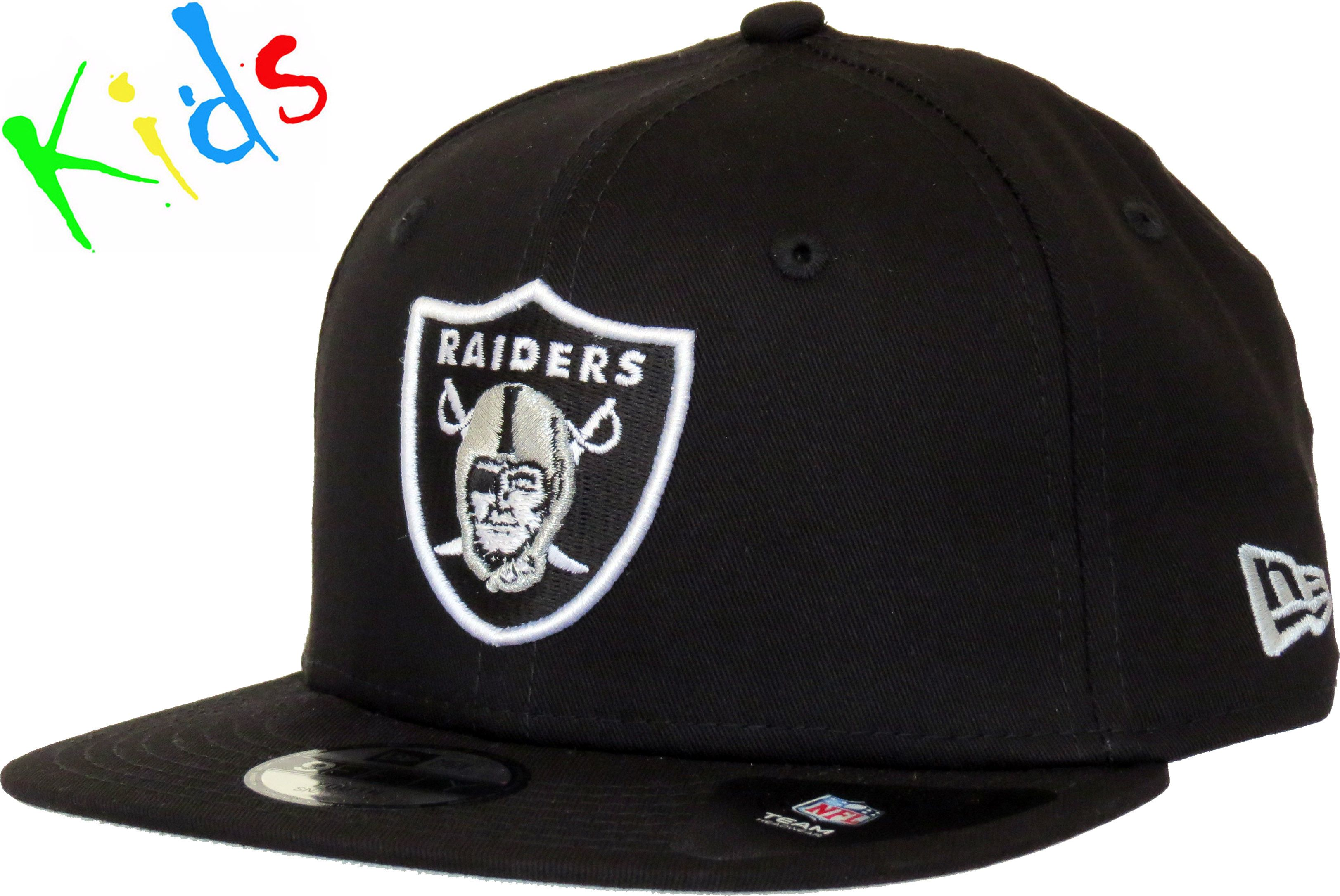 New Era Kids 9Fifty NFL Classic Snapback Cap. Black with the Oakland Raiders  front logo bfab334ee