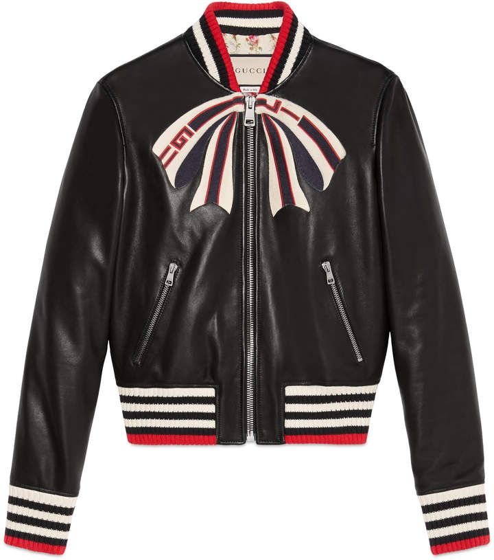 411eef8ee10e Leather bomber jacket with Gucci bow in 2019 | Products | Streetwear ...