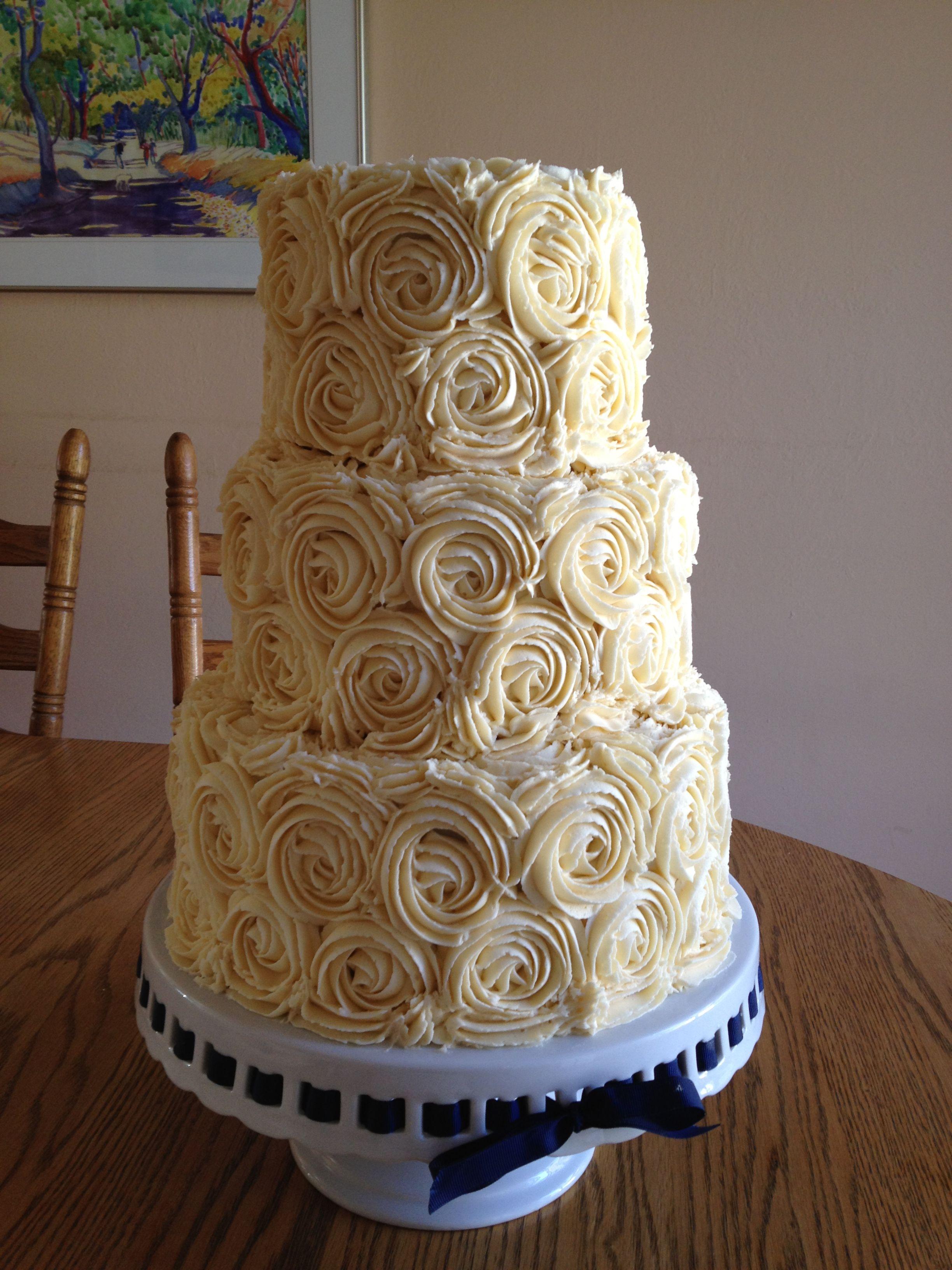 wedding cakes in lagunbeach ca%0A Ivory rosette buttercream wedding cake