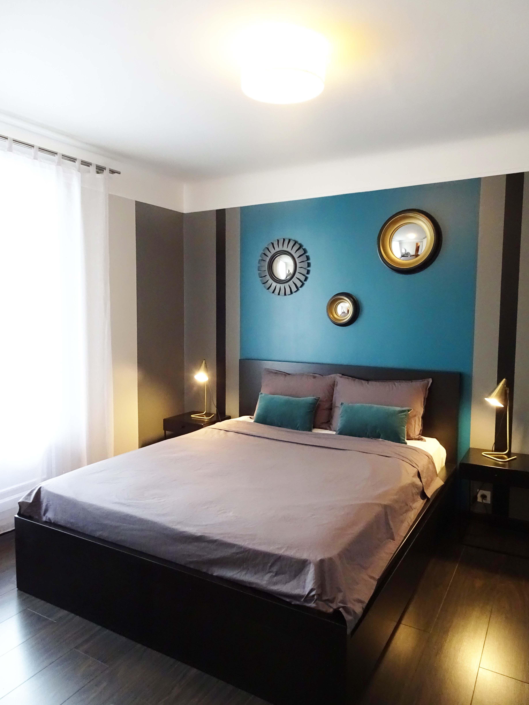 Chambre   12 pièces Fontenay Sous Bois   Tête de lit grise, Tête de ...