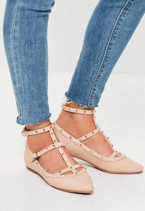 cb585185dc8d Missguided Nude Studded Pointed Flat Shoes