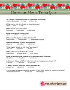 Free Printable Christmas Movie Trivia Quiz Game Christmas Movie Trivia Movie Trivia Quiz Free Christmas Printables