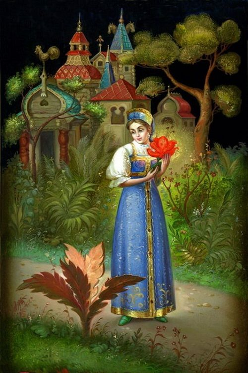The Scarlet Flower fairy tale - Fedoskino miniature