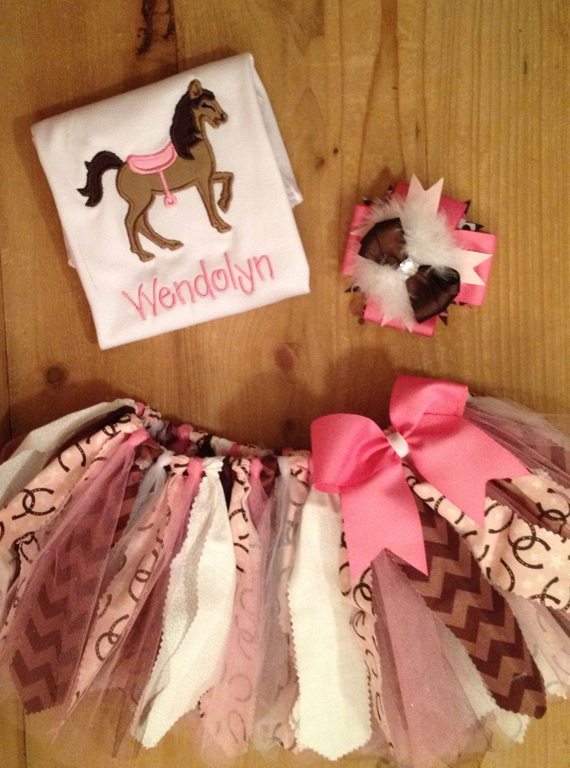 Pink and Brown Horse Scrap Fabric Tutu Outfit by ScrapHappyTutus, $40.00