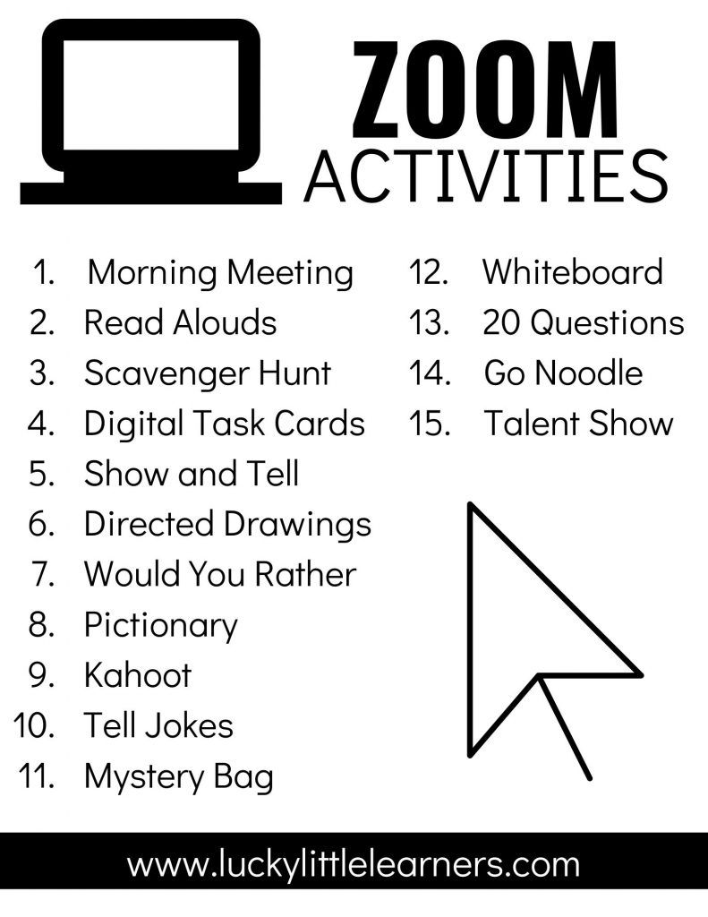 Zoom Activities to Use with Distance Learning - Lucky Little Learners