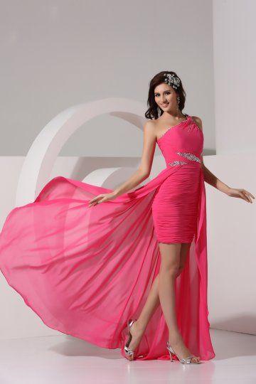 Robe de soiree rose et noir