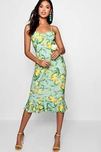 c1cc27db2011 £22 Boohoo Womens Lemon Print Ruched Front Fluted Midi Dress in Green size  12