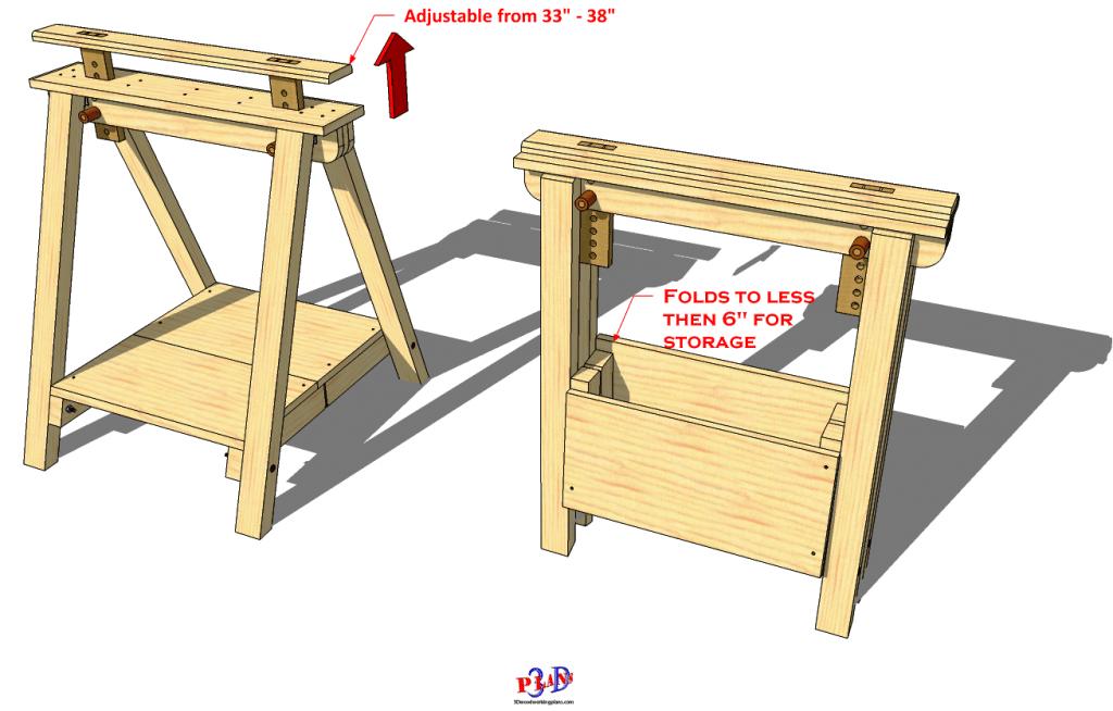 Folding Adjustable Sawhorse in 2020 Adjustable sawhorse