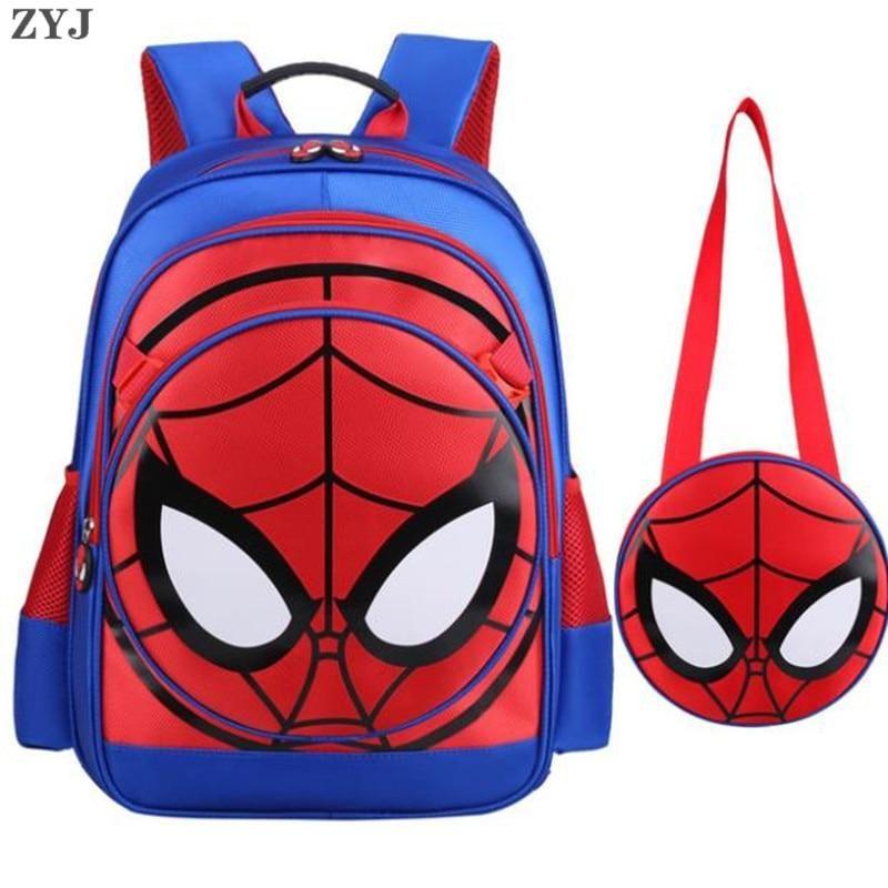 UK Boys Kids 3D Superhero School Bag Backpack Spiderman America Captain Rucksack