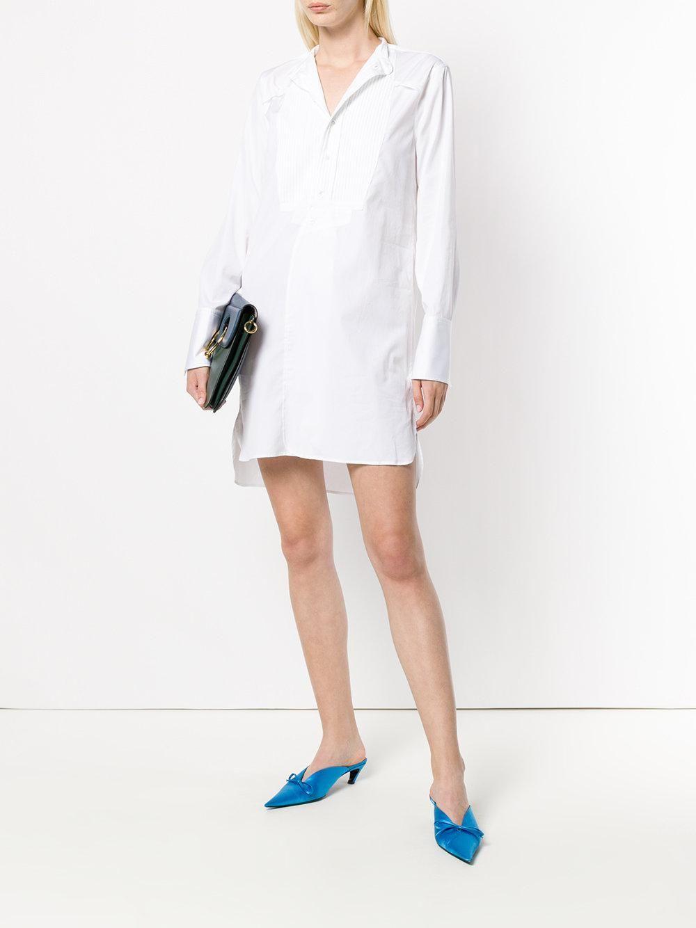Victoria Victoria Beckham White Victoria Victoria Beckham Collarless Shirt White Dress [ 1334 x 1000 Pixel ]