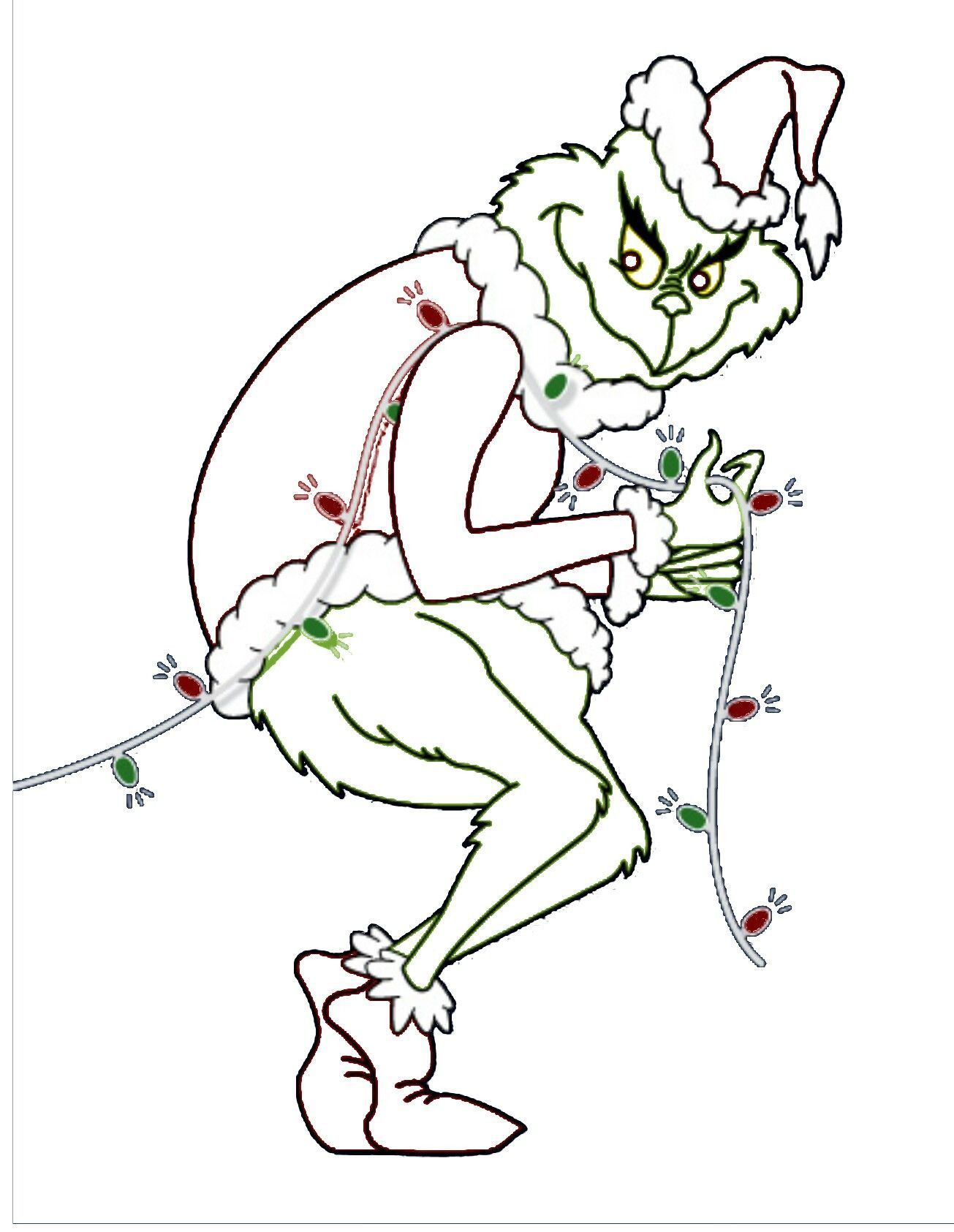 Grinch Stealing Christmas Lights Template In 2021 Grinch Coloring Pages Grinch Stealing Lights Grinch Christmas Decorations