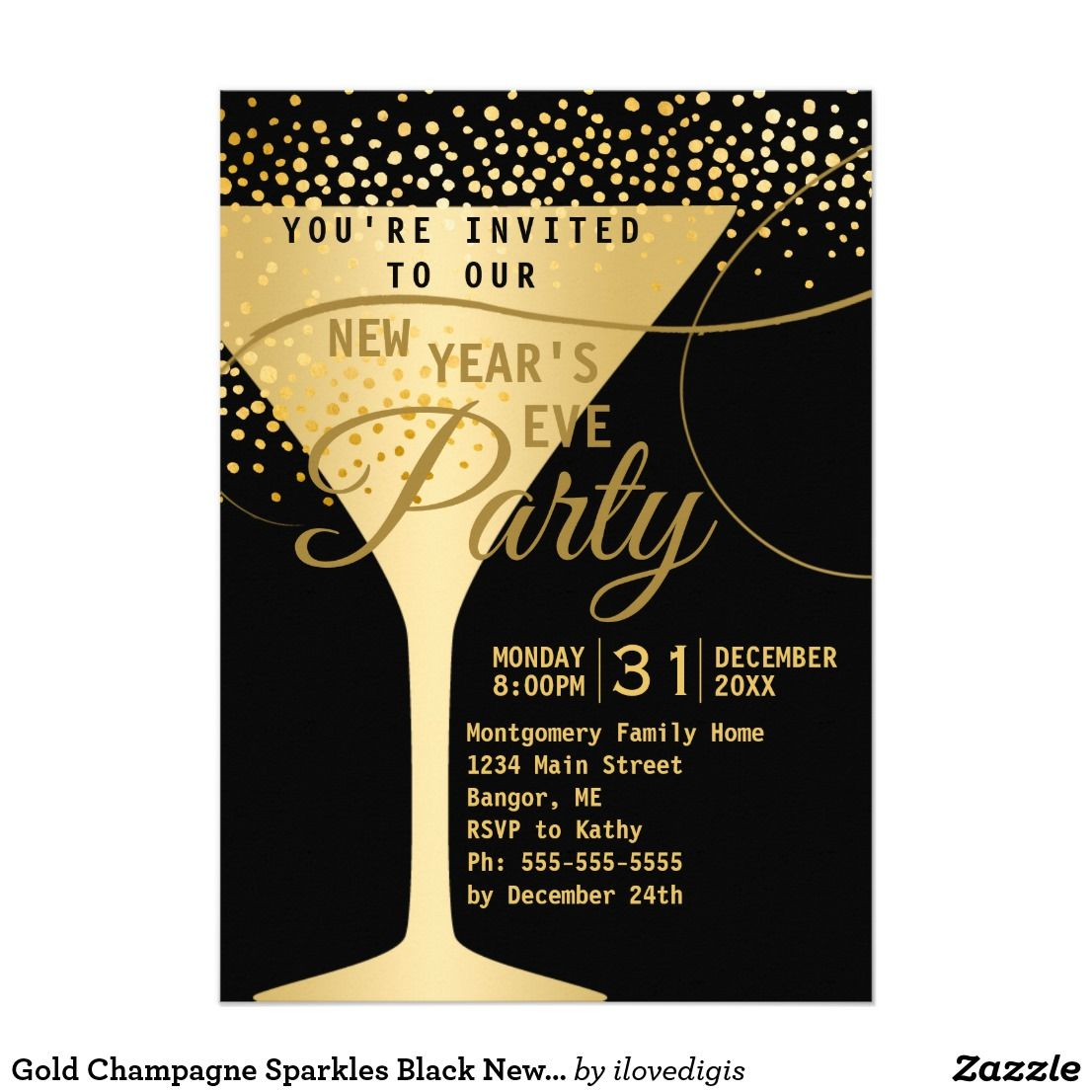 Gold Champagne Sparkles Black New Years Eve Party