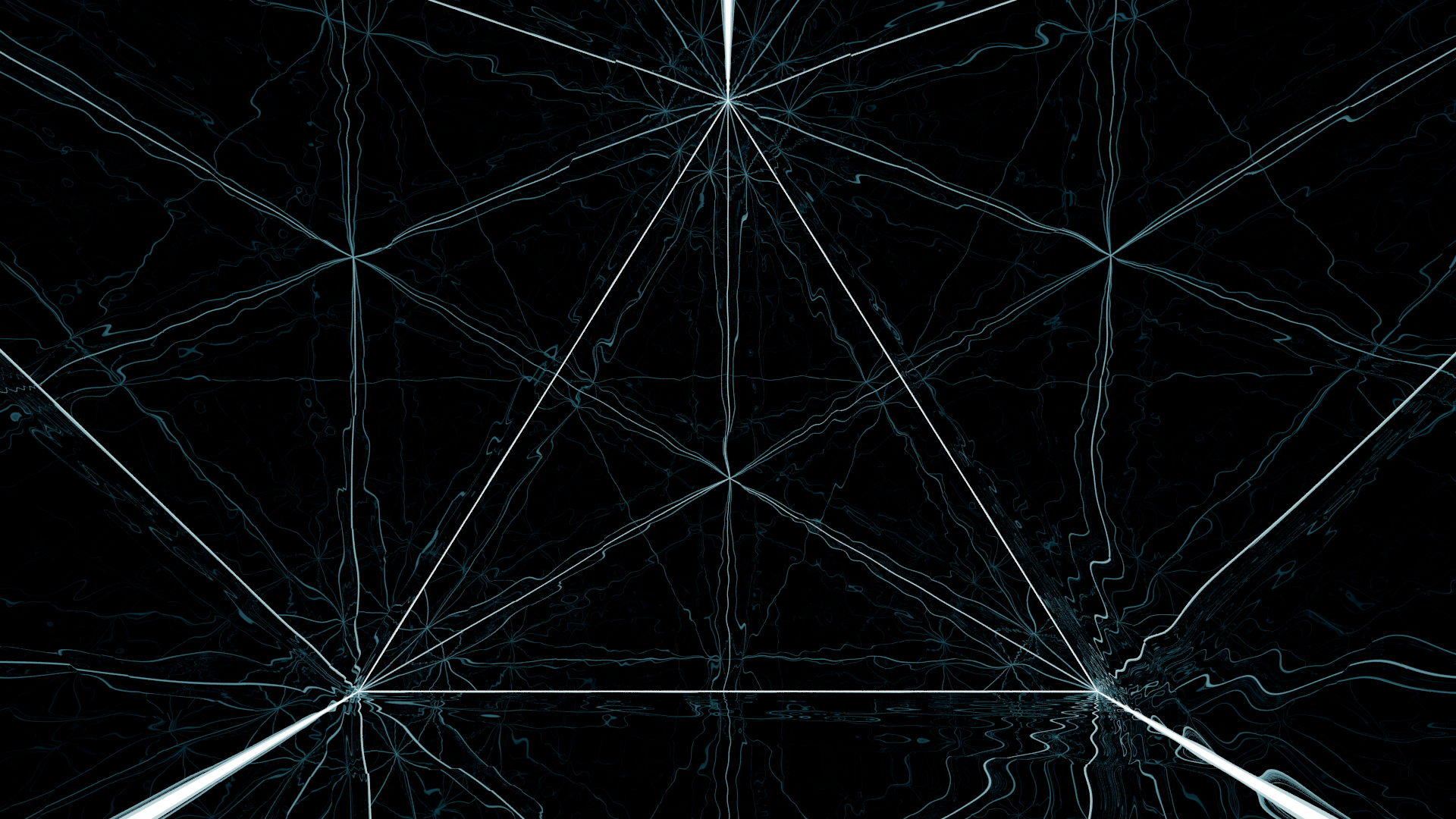 geometry, Black, Blue, Abstract, CGI, Mirror, Reflection