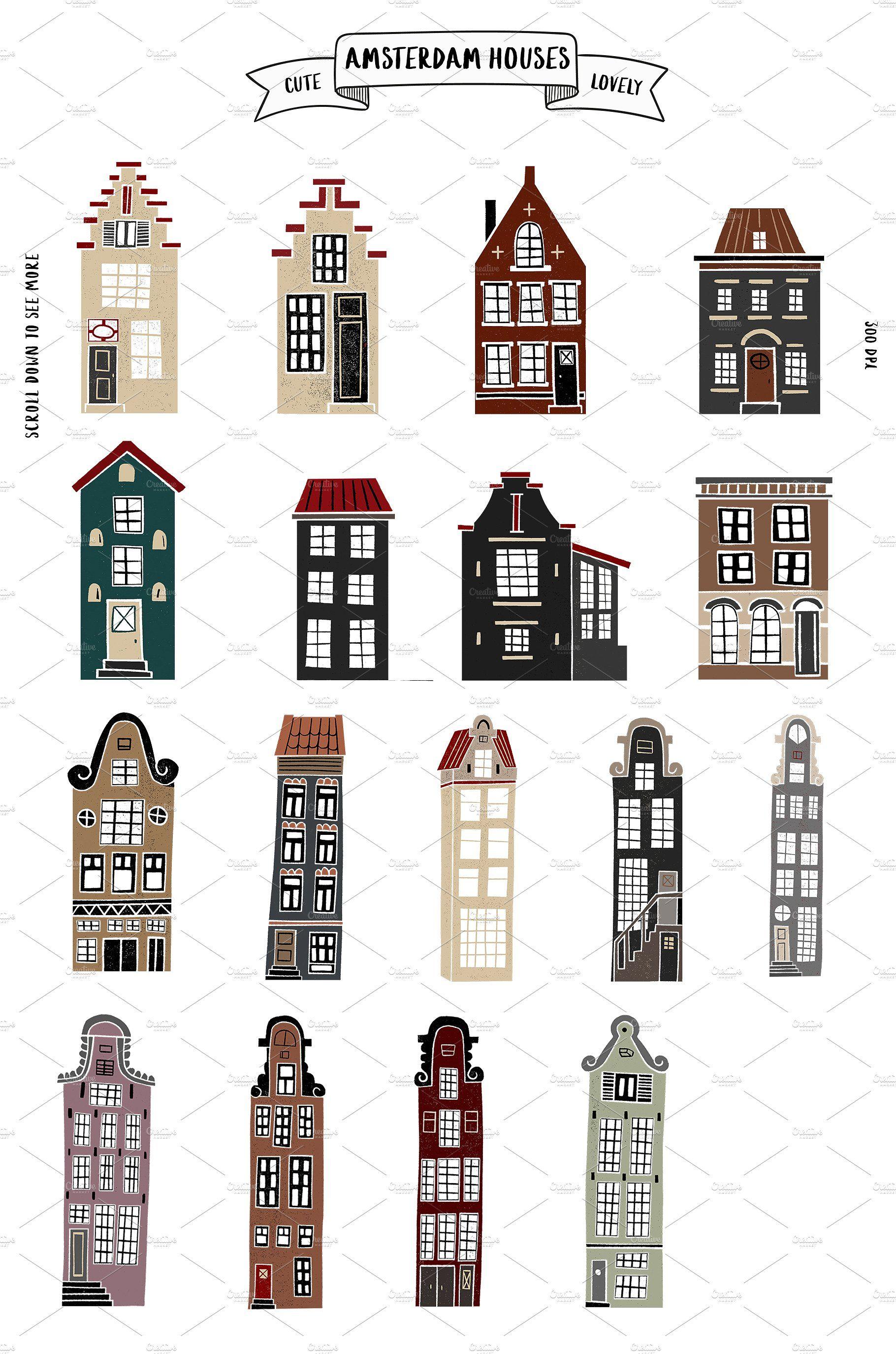 , Amsterdam Houses by Mii Lab on Creative Market #houses #illustrations, Family Blog 2020, Family Blog 2020
