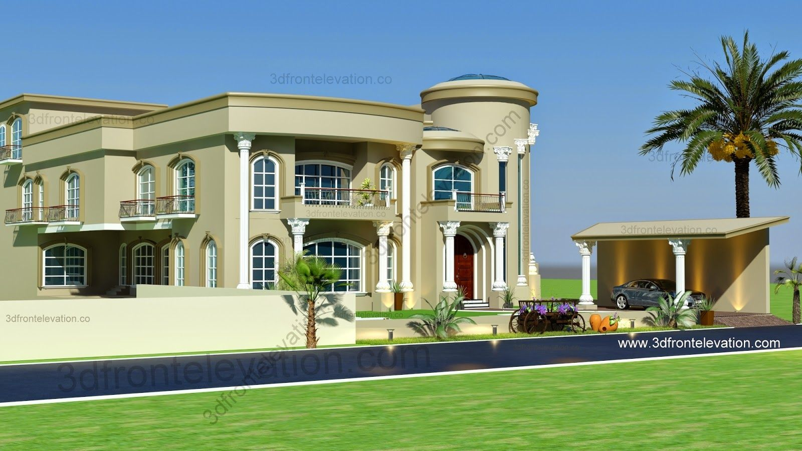 Modern arabic villa design 2015 3d front elevation for Modern villa plans and elevations