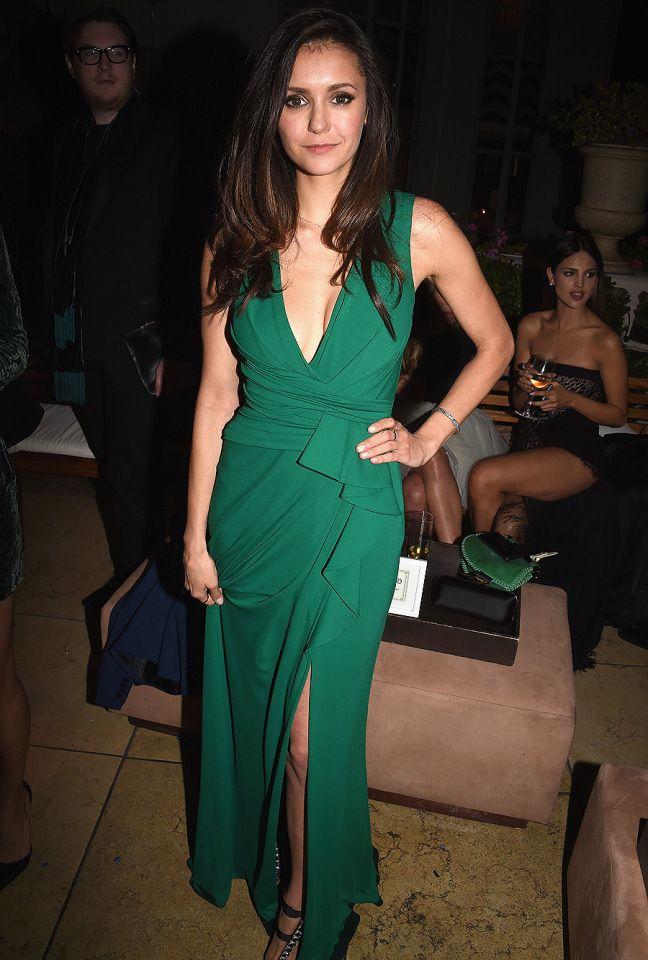 Nina Dobrev attends an Oscars party on Sunday in West Hollywood ...