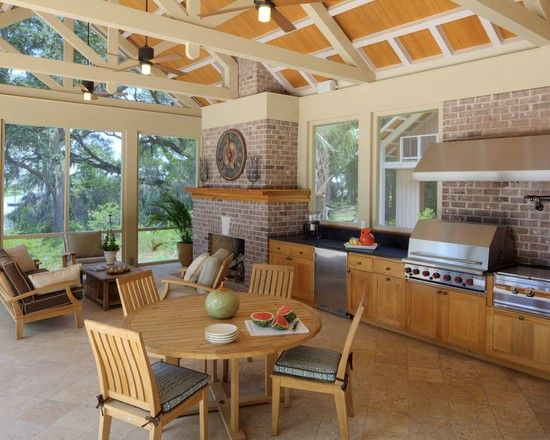 Outdoor Design Outdoor Kitchen On The Screened Porch With Roof Coverage And Ventilation And Pl Covered Outdoor Kitchens Outdoor Kitchen Design Outdoor Kitchen