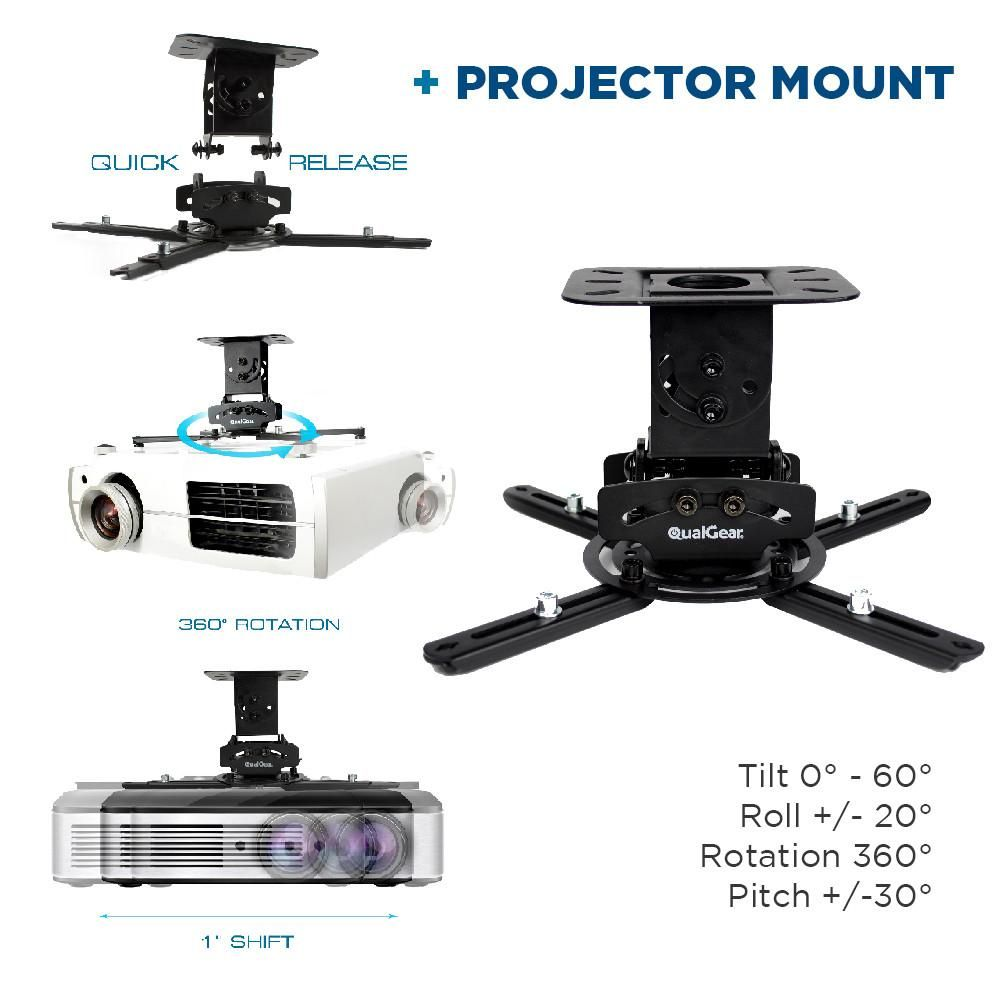 Qualgear Projector Ceiling Mount Bundle With 110 Ultra White Fixed Frame Projector Screen 25 Hdmi Cable Hardware Mount Prb 717 Blk 110w 25ft Projector Ceiling Mount Projector Screen Hdmi