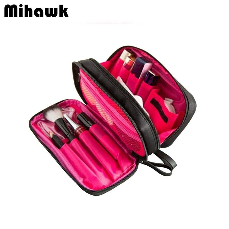 Double Layer Cosmetic Bag Travel Organizer Waterproof Makeup Cases Pouch Beauty Brushes Lipstick Toiletry Makeup Bags Travel Travel Cosmetic Bags Cosmetic Bag