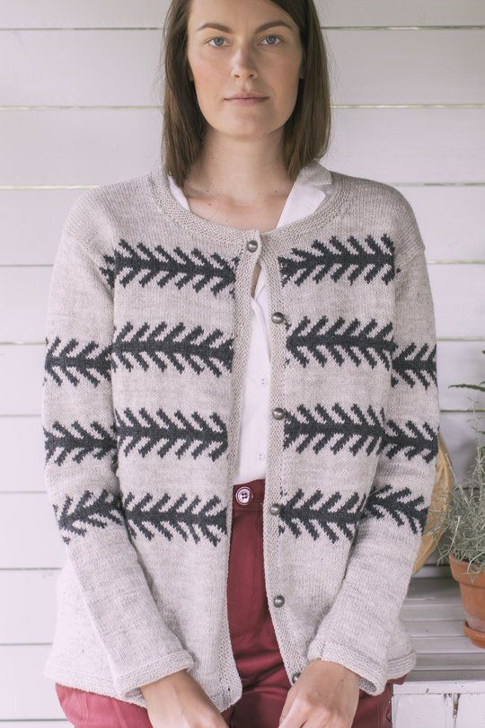 This cardigan, simple in shape, features a colourwork ...