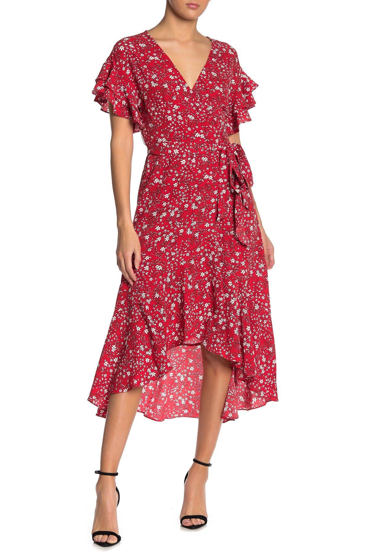 Max Studio Ruffle Crepe High Low Wrap Midi Dress Nordstrom Rack Dresses Nordstrom Dresses High Low Boho Dress [ 1800 x 1200 Pixel ]