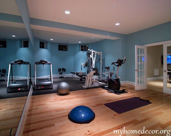 Blues Whites Greys Light Floor Gym Room At Home Workout Room