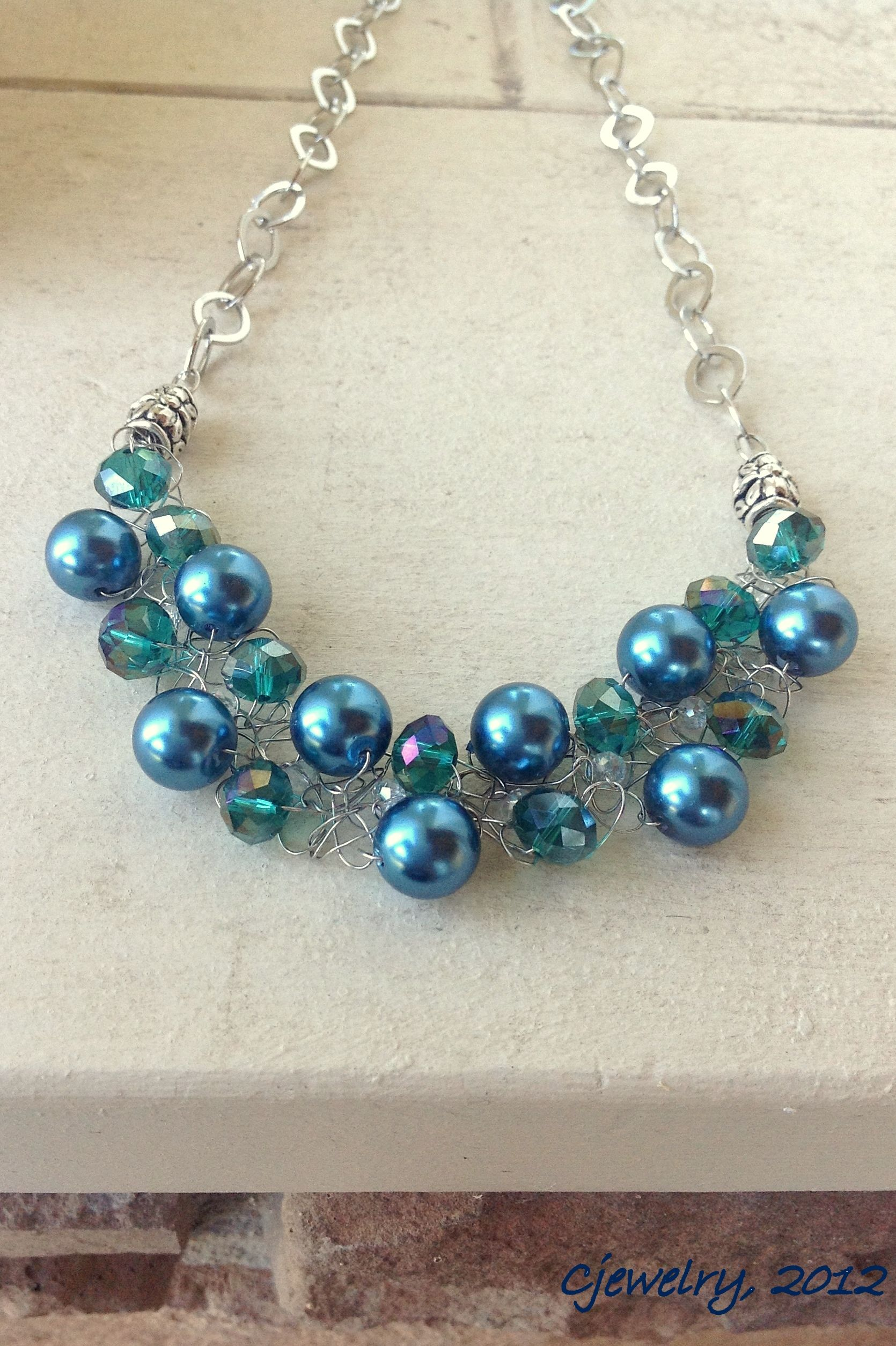 Crocheted wire necklace with crystal and glass pearls. CJEWELRY   My ...