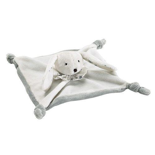Doudou en tissu blanc 25 x 25 cm LAPINOU