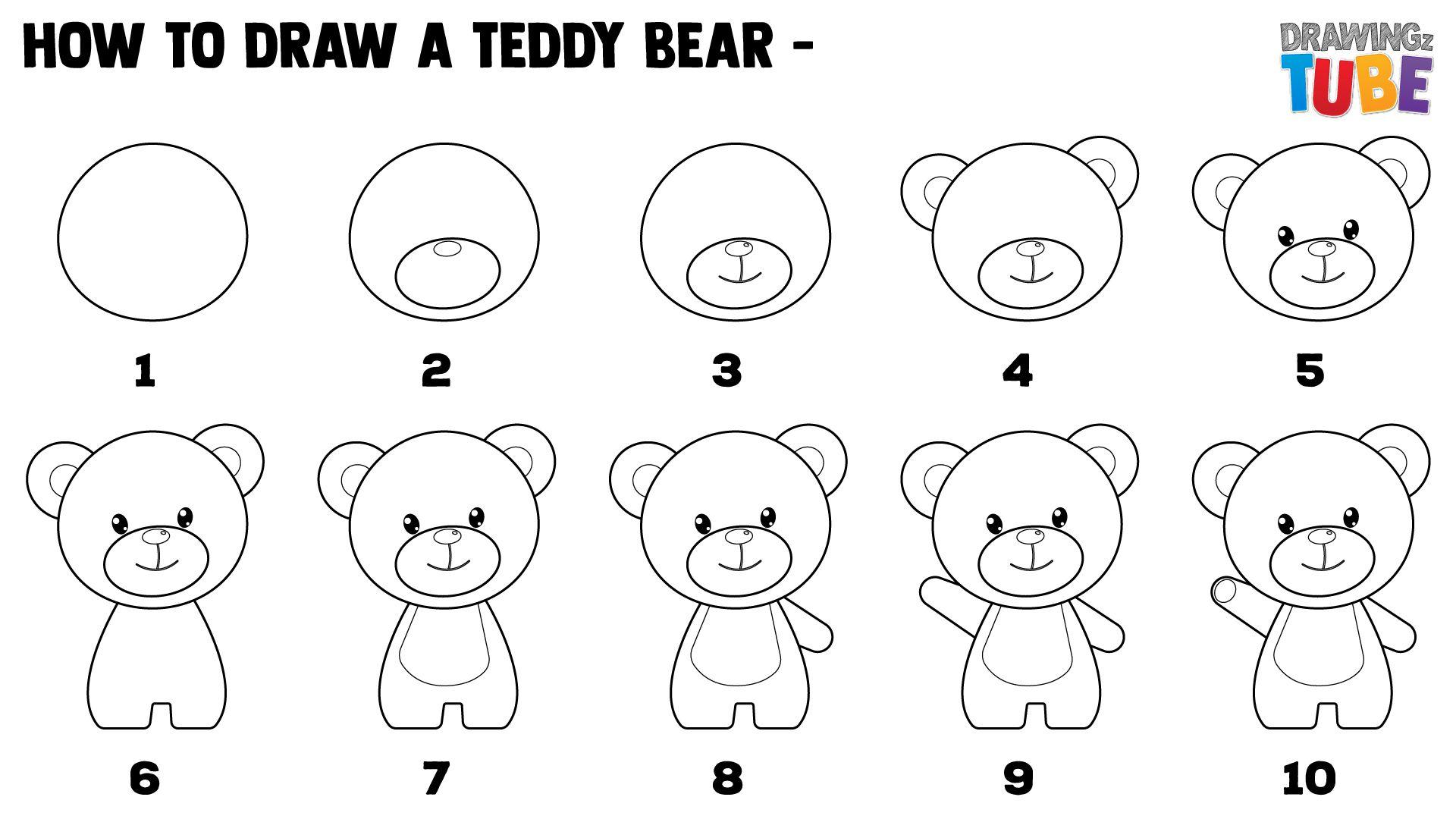 How To Draw A Teddy Bear For Kids Teddy Bear Drawing Easy Teddy Bear Drawing Teddy Bear Tattoos