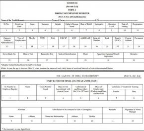 Sample Employee Register Form A Launched By Government Of India In