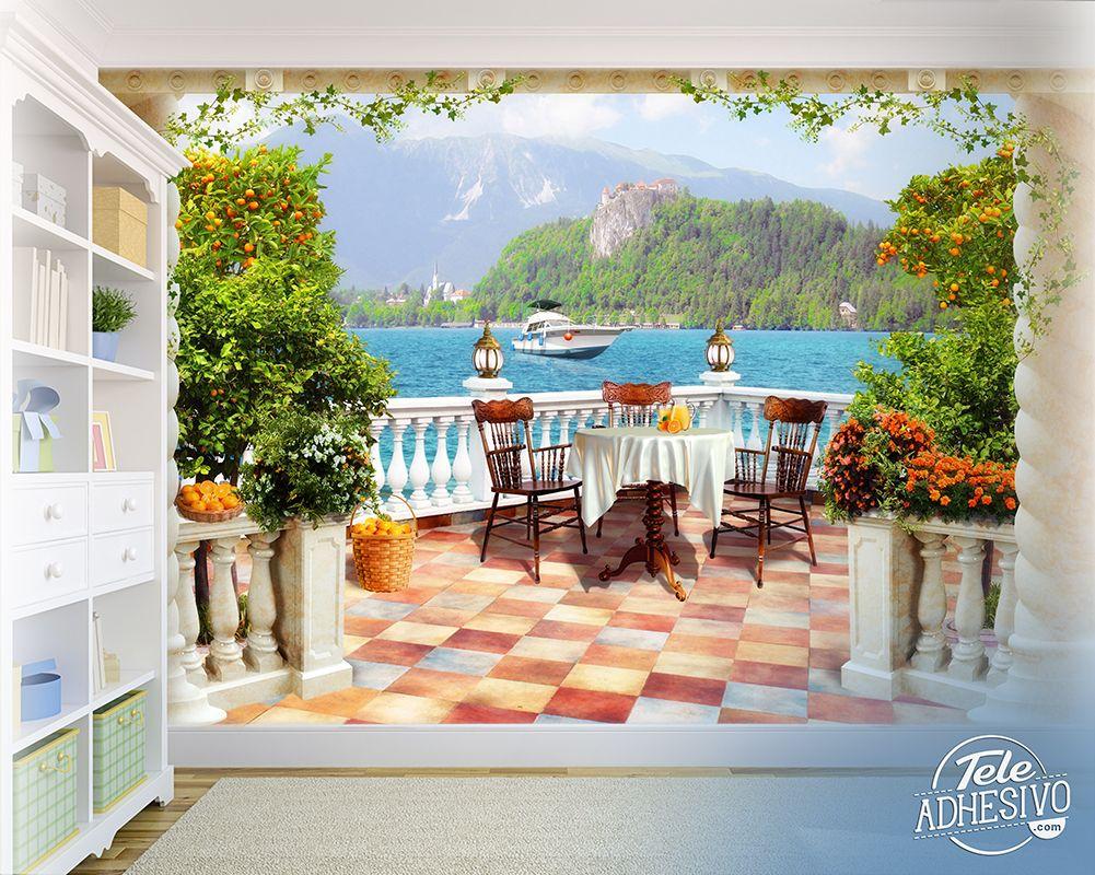 Fotomurales terraza al lago vinilo decoracion terraza for Vinilos murales paisajes