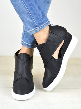 a0d29258ff9 Criss-cross Cut-out Wedge Sneakers Plus Size Wedge Heel Shoes with Zipper