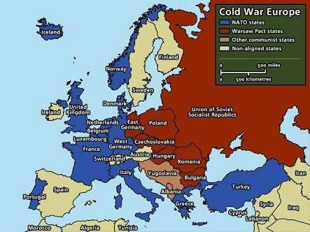 Cold War Europe: NATO States vs Warsaw Pact States