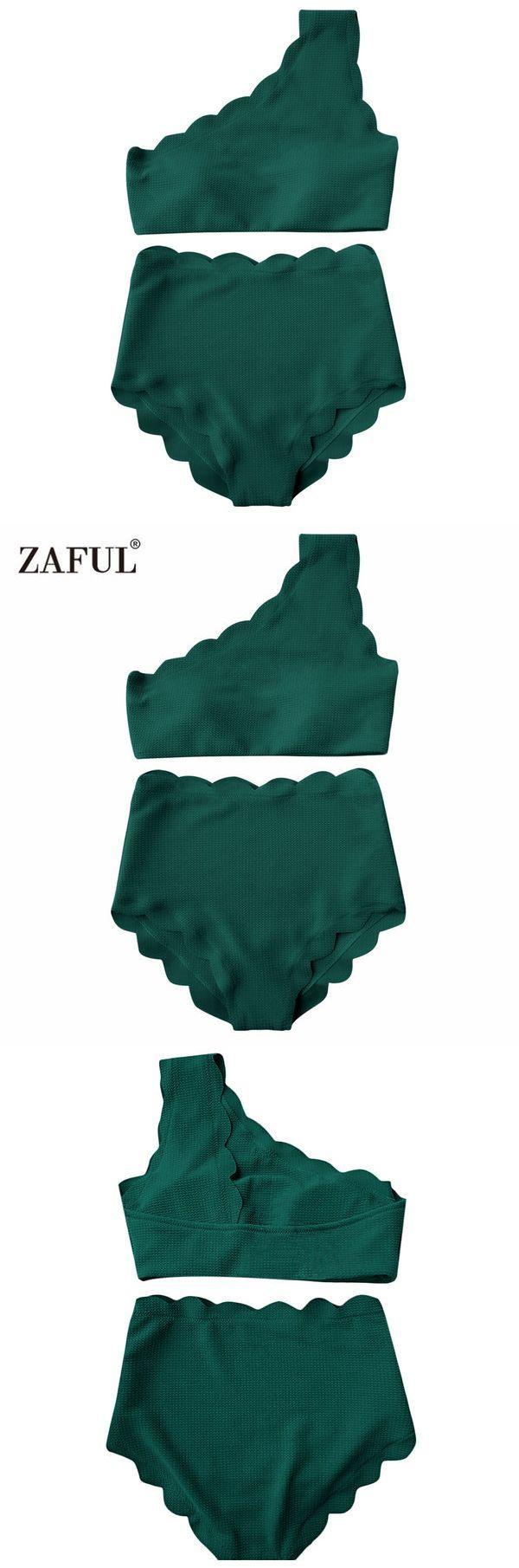 dac9978bb7 Zaful One Shoulder Woman Bikini Set 2018 Scalloped Swimwear Wave Edge Women  Swimsuit Biquinis Bathing Suits Maillot De Bain #swimwear #swimsuit # swimsuits ...
