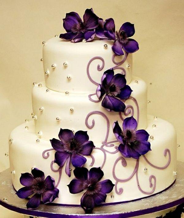 Lila Hochzeitstorte Ideen Violette Und Purpurrote Muster Kuchen