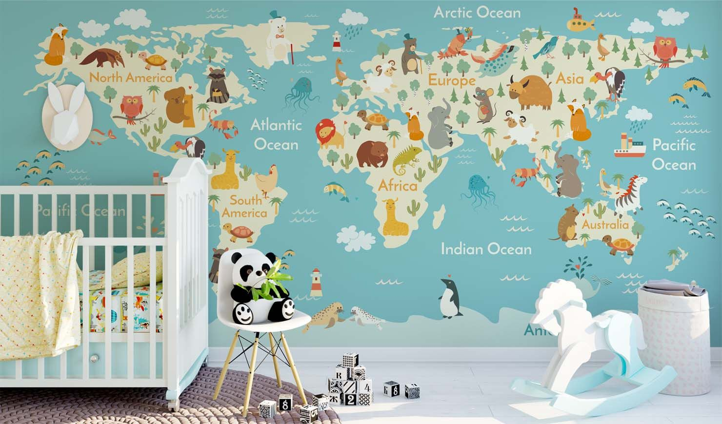 Jungle animals theme world map wall sticker mural removable non jungle animals theme world map wall sticker mural removable non woven nursery wallpaper wall art gumiabroncs Gallery