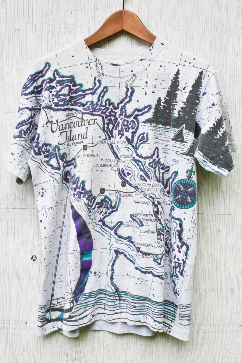 90s Vancouver Island Souvenir Tshirt Medium Vintage All Over Print Souvenir Tee Single Stitch Splatter Paint Map Image Island Tee In 2020 Clothes Cotton Mens Outfits