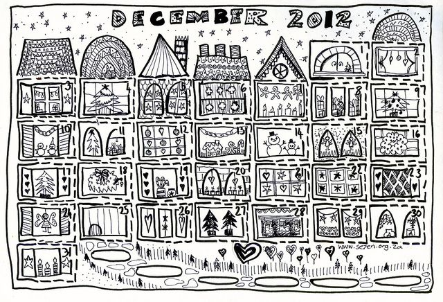 Christmas Countdown Day 1 Advent Calendar Coloring Page