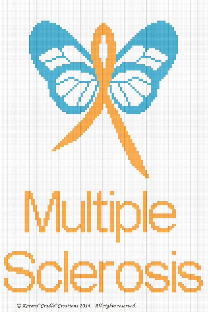 Multiple Sclerosis  MS AWARENESS BUTTERFLY afghan pattern Crochet Patterns