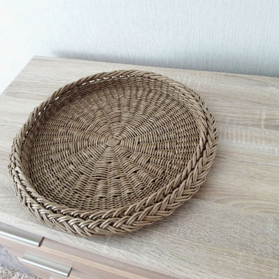 Coffee Table Tray Large Ottoman Tray Round Handwoven Wicker Basket
