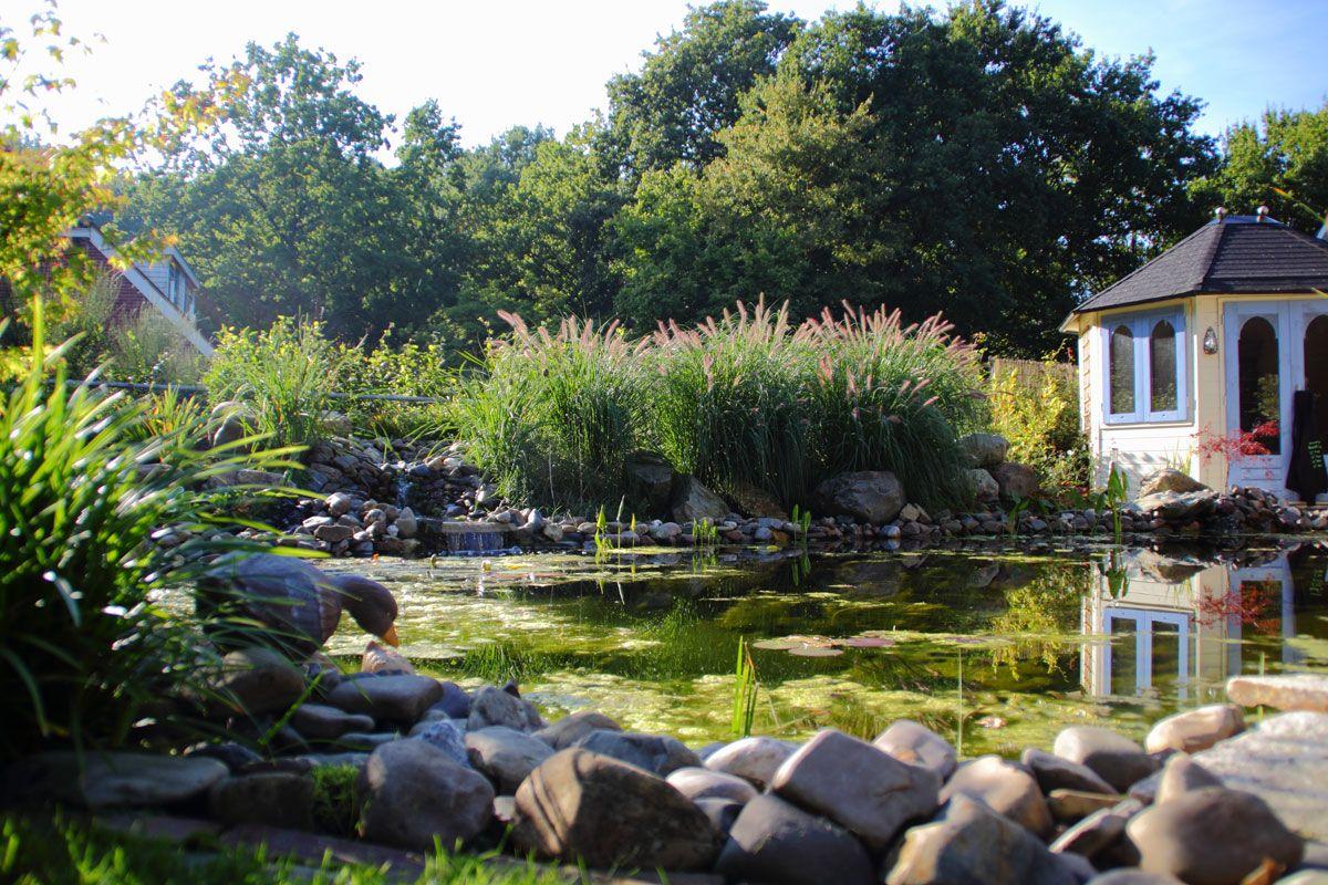 Siergrassen rotsen natuurlijke vijver romantische tuin for Vijver in tuin