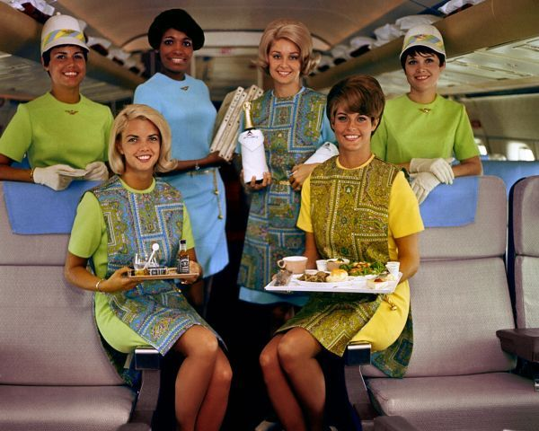 Delta Air Lines stewardesses in the old days. Oh, those colors!
