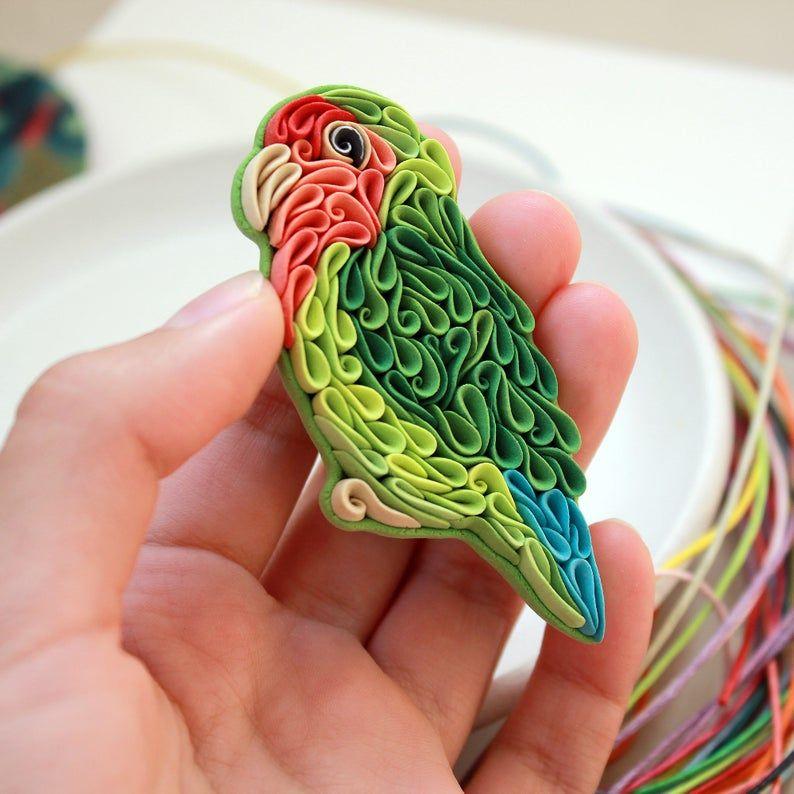 Lovebird parrot brooch Green parrot bird brooch Friendship day Love bird lover gift Bird jewelry Clay figure Quilling art