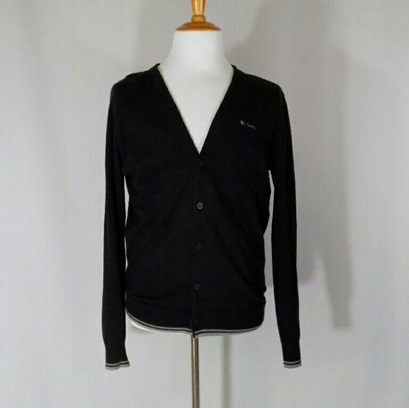 Ben Sherman Men's Black/Gray Cotton Cardigan Classic v-neck ...